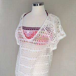 VICTORIA/'S SECRET Caftan Crochet Lace Flounce Plunge Back Romper Cover Up Dress